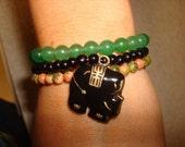 Unisex Black Elephant Charm Bracelet