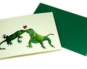 Romantic Iguana Love Card // Iguana Kiss You // reptile romance animal jungle green red white / colorful bright relationship nature humor