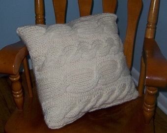 Rolling Cables Pillow (cabled pillow knitting pattern)