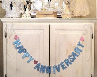 Happy Anniversary Banner / Garland/ Photo Prop / Wedding Anniversary