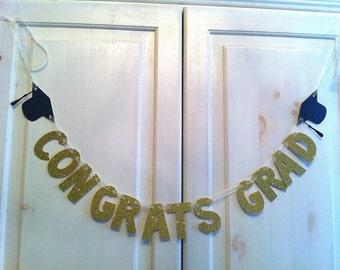 Congrats Grad Banner -- Graduation Photo Prop / Decoration