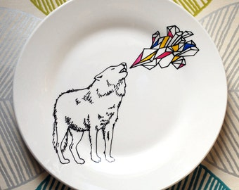 20% SALE - Run With The Wolf Pack - Hand Drawn Plate