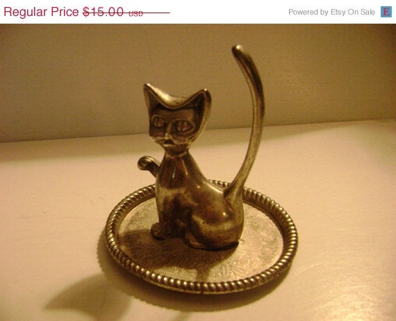 ON SALE Vintage Silver Plated Cat Ring Jewelry Holder