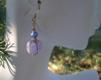Purple Lampwork & Swarovski Crystal Earrings