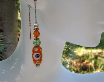 Orange and Green Lampwork & Swarovski Crystal Earrings