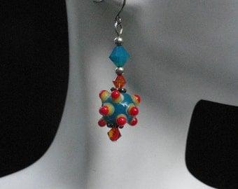 Dazzling Blue Lampwork Bead with Blue & Orange Swarovski Crystal Dangle Earrings