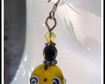 Yellow, Black and White Lampwork Bead Earrings with Swarovski Crystal on Sterling Silver