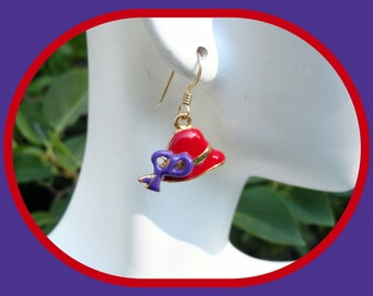 14k Gold Filled Red Hat Society Earrings
