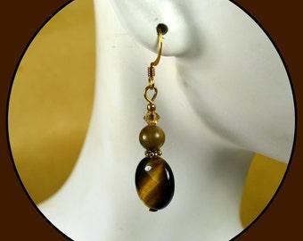 Tiger's Eye, Swarovski Crystal and 14k Gold Filled Accents on 14k Gold Filled Fish Hook Ear Wires