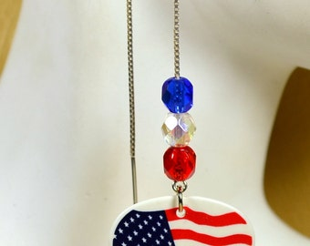 """Patriotic American Flag Guitar Pick Earrings with Red, White & Blue Swarovski Crystals on 5"""" Sterling Silver Ear Threads"""