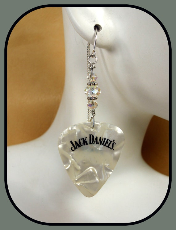 White Opalescent Jack Daniel's Guitar Pick Earrings with Clear Swarovski Crystals on Sterling Silver Ear Threads