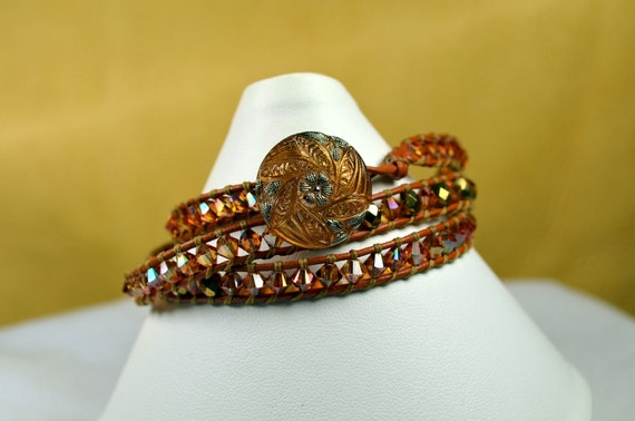Triple Wrap Bracelet with Swarovski Crystal Copper Beads and Vintage Button on Copper Brown Leather Cord