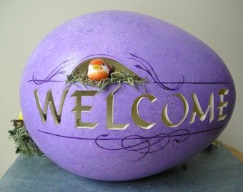 Spring Sale Decorative Carved Handpainted Purple Welcome Egg