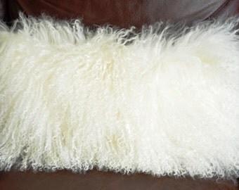 Decorative Pillow - 8x18 Lamb Natural White Fur Pillow Sheepskin