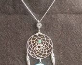 Native Dreamcatcher with Turquoise Zuni Bear & Tibetan Silver Feathers Necklace