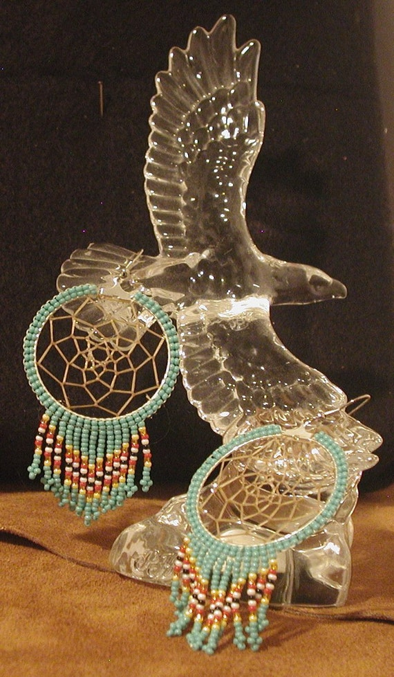Turquoise Colored Dreamcatcher with Navajo Color Fringe Earring Set