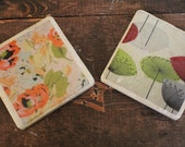 Customized Orange Floral / Dandelion Print Tile Coasters