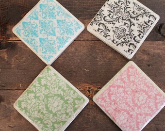 Customized Pink, Teal, Green, and Black Damask Tile Coasters