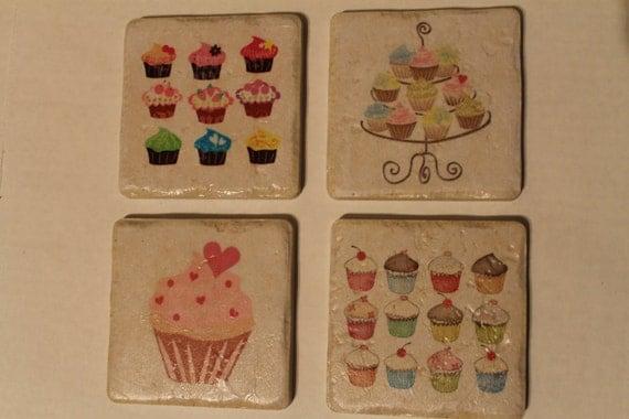 Customized Cupcake Tile Coasters