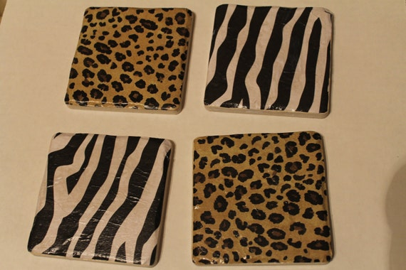 Customized Zebra and/or Cheetah Print Tile Coasters
