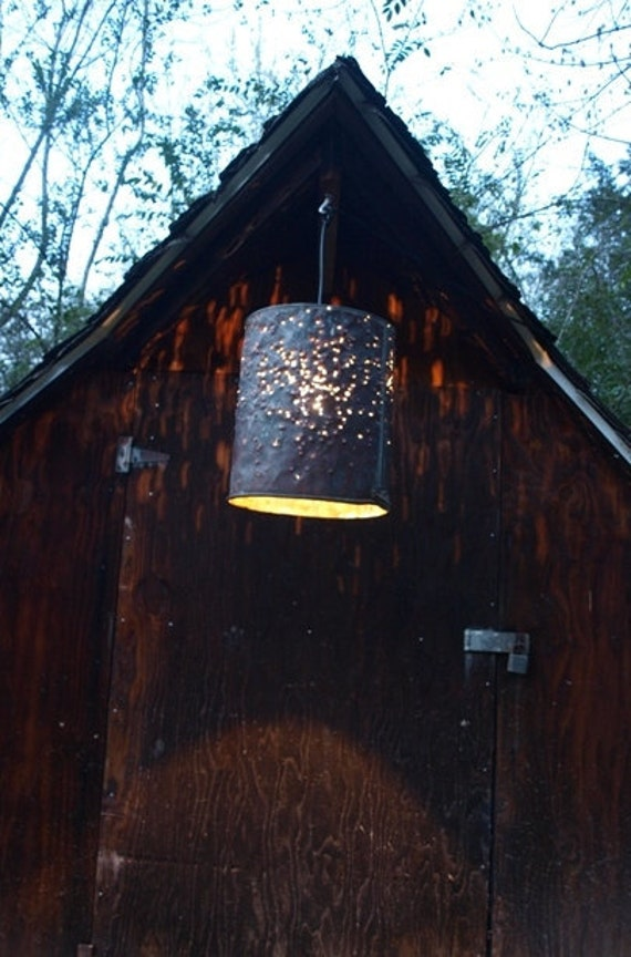 "Hanging Pendant Light - Copper Bucket, ""Copperhead"""