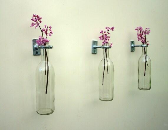 9 hardware only wine bottle wall flower vases for Wine bottle flower vase
