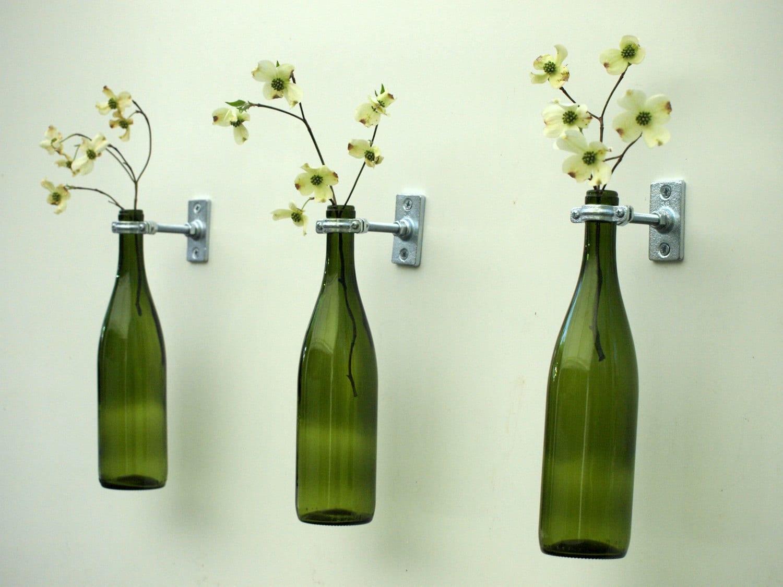 3 hardware only wine bottle wall flower vases for Wine bottle flower vase