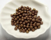 Small Bronze Glass Beads 4mm Czech Pressed Round (100) last