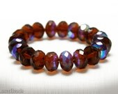 Czech Brown Rondelle Glass Beads 8mm (25) Fire Polished Polish Faceted Topaz last