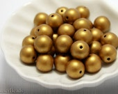 Gold Czech Glass Beads 10mm (12) Pressed Round Opaque Frosted Matte  LAST