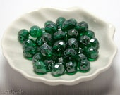 Green Fire Polish Beads 8mm Faceted (20) Czech Polished Round Luster Faceted (20)