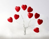 Love Large Red Heart Beads 15mm (10) Czech Opaque Glass Pressed Tree Big Europeanstreetteam