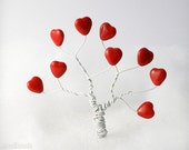 Red Heart Beads 11mm (12) Czech Opaque Glass Pressed Tree last