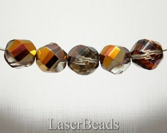 Large Fire Polish Beads 12mm Faceted (8) Czech Glass Cupper Big