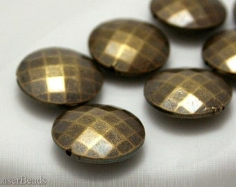 Large Bronze Acrylic Beads 20mm (8) Flat Round Plastic Antiqued Gold Faceted Big