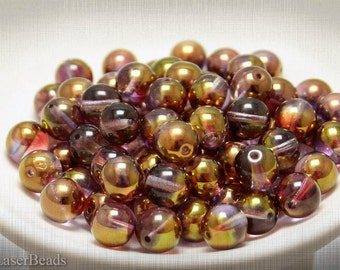 Gold Czech Round Glass Beads 10mm (8) Pressed Druk Raspberry Red Purple Metallic