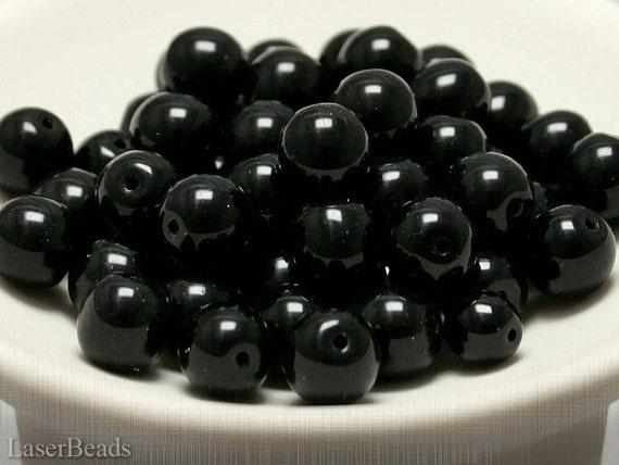 Black Round Czech Beads 10mm (10) Pressed Druk Opaque last