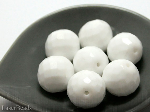 Glass Beads White Czech Fire Polished 18mm (4) Faceted Polish Round Opaque Large Huge Big