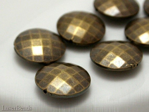 Large Bronze Acrylic Beads 20mm (8) Flat Round Plastic Antiqued Gold Faceted Big last
