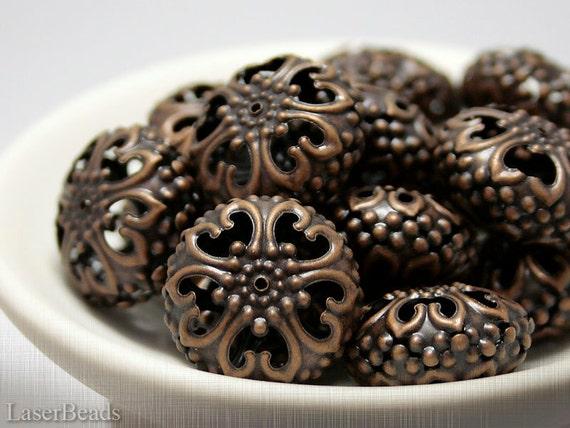 Large Metal Beads 13x23mm (6) Filigree Antiqued Copper Dark Bronze Colour Big LAST