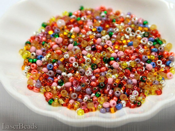 Czech seed beads mixes 10/0 20g Pink Red Silver Gold Spring LAST