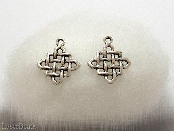 Metal Square Connector (6) Antiqued Silver colour Celtic Irish Knot Charm Pendant