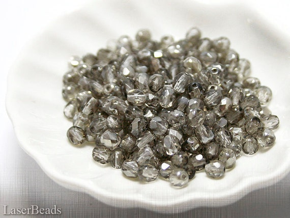 Small Gray Czech Fire Polished Beads 4mm (50) Polish Faceted Round Glass Metallic Silver LAST