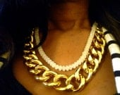 Amelia: Chunky 18 carat gold plated chain & white faceted beads necklace.