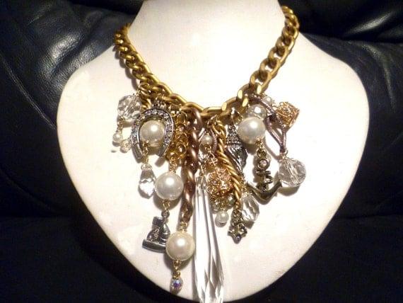 Vintage Matt Gold Charm Necklace