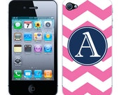 Apple iPhone 4 4S Vinyl Decal Skin Sticker Cover Case - Custom Colors with Personalized Monogram on Chevron Stripes