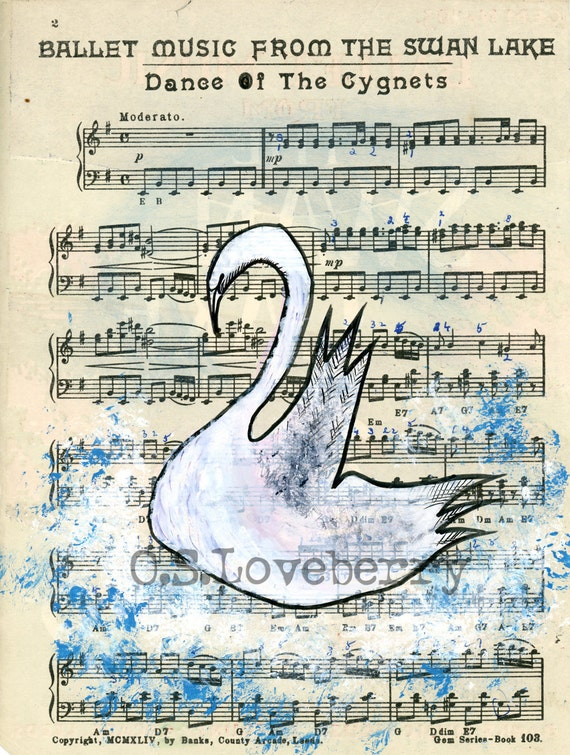 White Swan -Original Watercolor Painting 8 x 11 inches