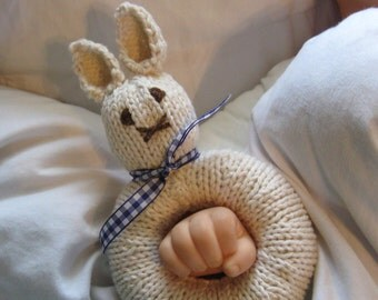 Knitted Natural Bunny Baby Rattle (Shown With Blue Gingham Ribbon)