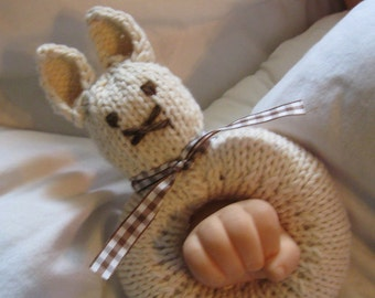 Baby's First Knitted Bunny Rattle (shown with brown gingham and brown ribbon)