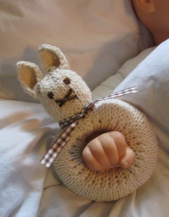 Knitted Bunny Rattle (shown with brown gingham and brown ribbon)